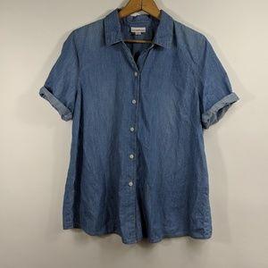 J. Jill denim chambray button down blouse
